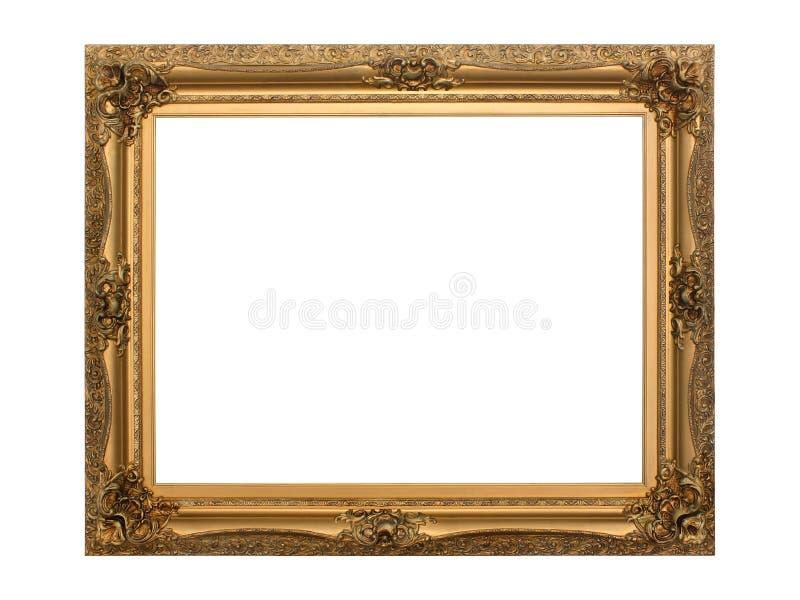Frame antigo do ouro isolado com trajeto de grampeamento imagens de stock