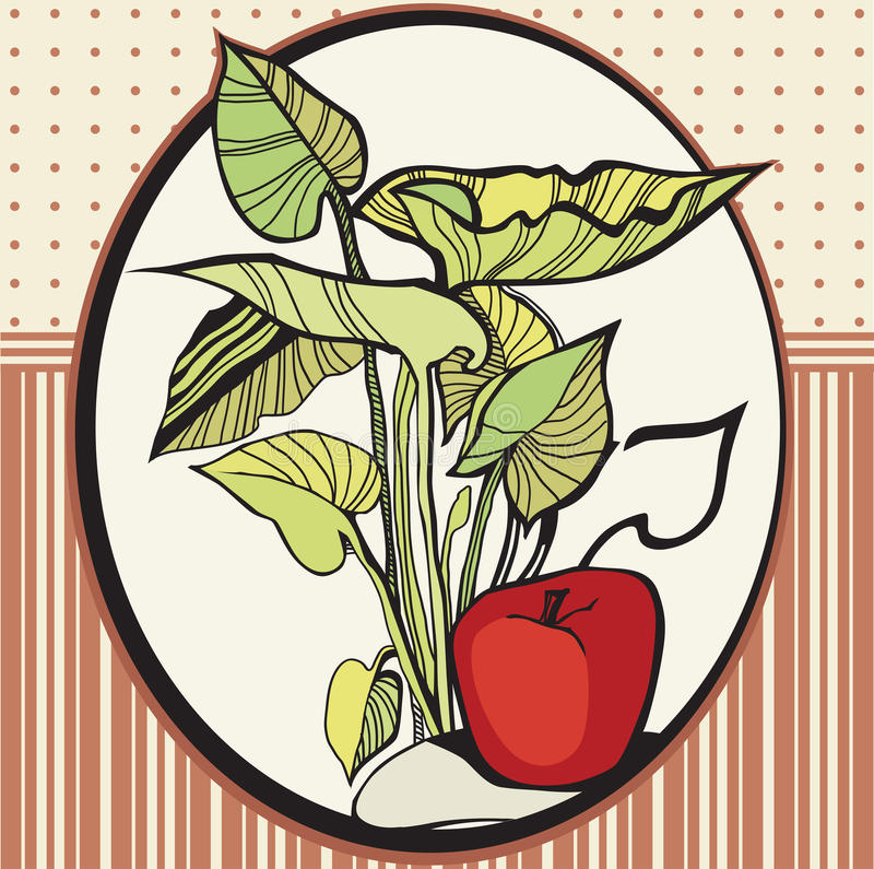 Frame with apples and leaves. Frame with an organic still life of apples and leaves royalty free illustration