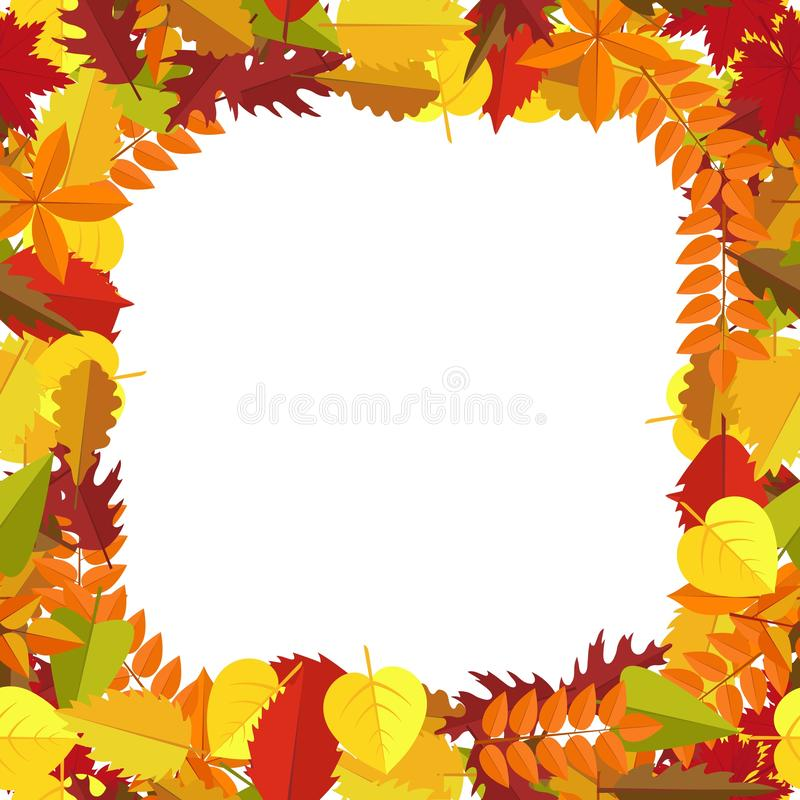 Frame with autumn colorful leaves. Fall season greeting card, poster, flyer., generic fall background etc. Vector illustration stock illustration