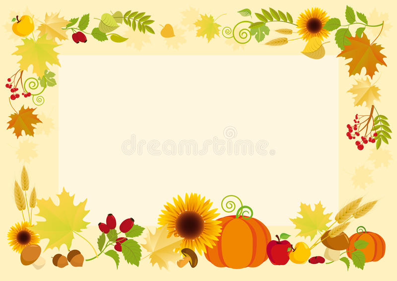 Frame with autumn crops stock photography