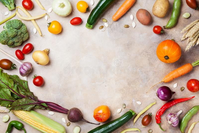 Frame of autumn harvest. Vegetables and root on kitchen table top view. stock images