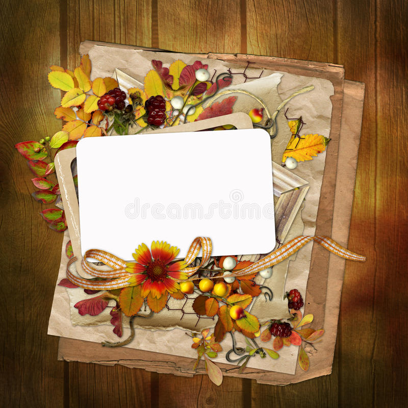 Download Frame With Autumn Leaves And Berries On Wooden Background Stock Illustration - Image: 32850315