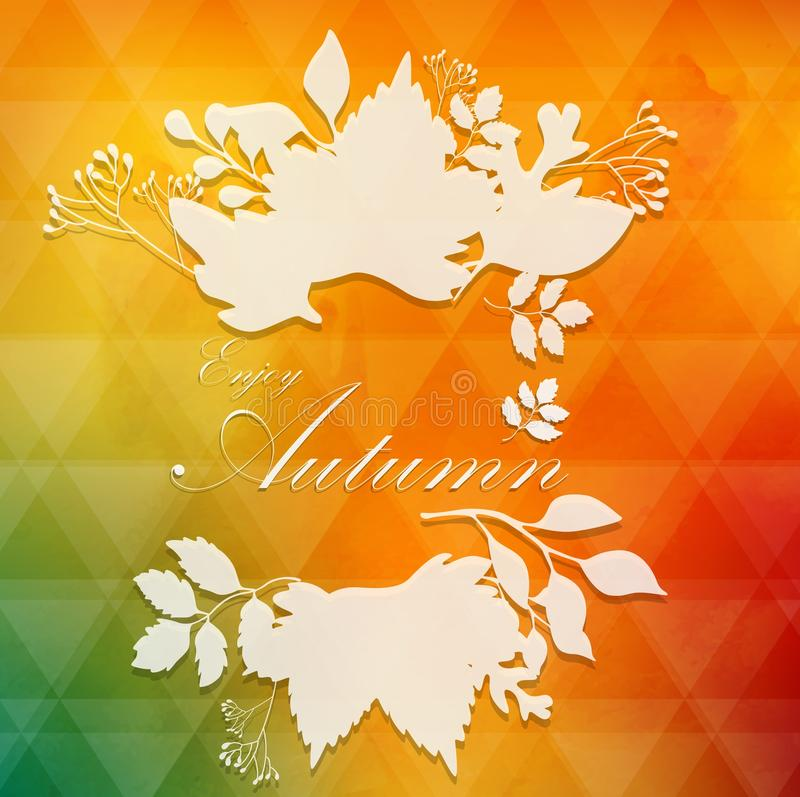 Frame from autumnal leaves on white silhouette background stock illustration