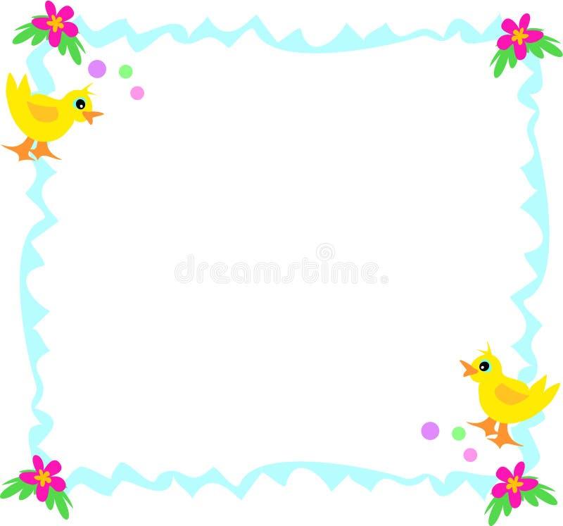 Frame azul com patos, bolhas, e flores ilustração stock