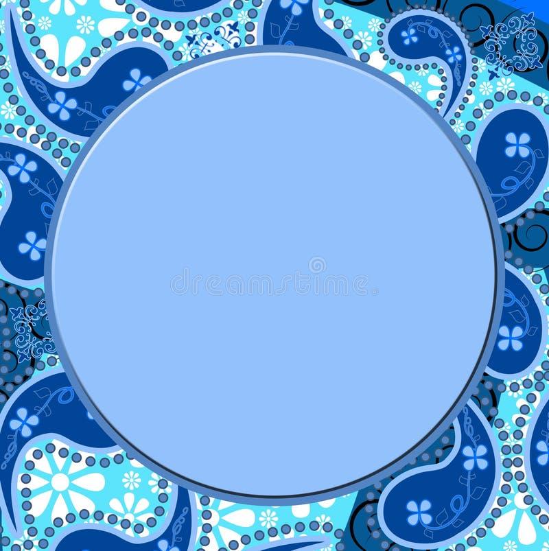 Frame azul da beira de Paisley ilustração do vetor