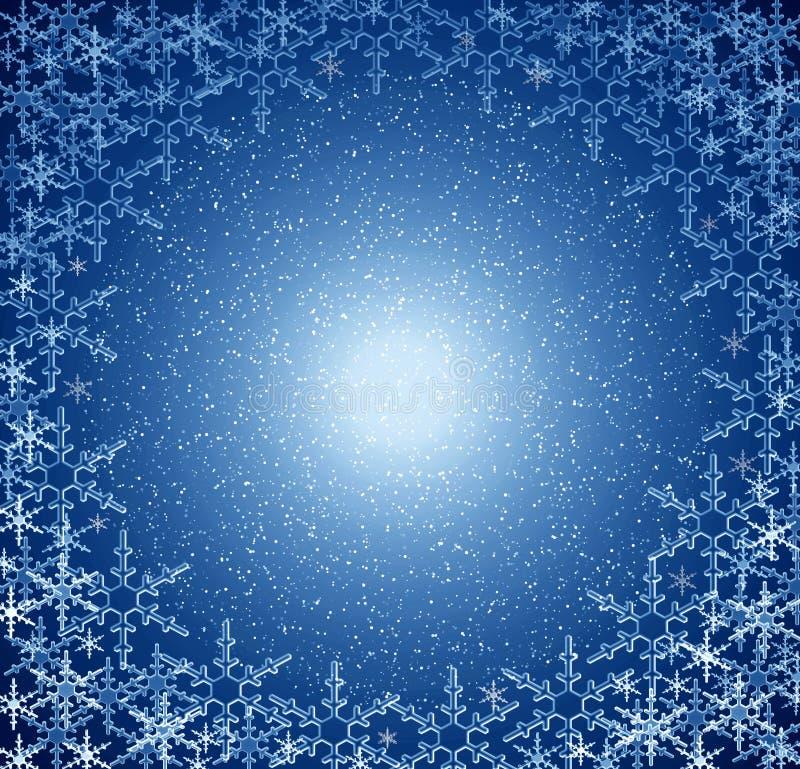 Frame azul da neve do Natal ilustração royalty free