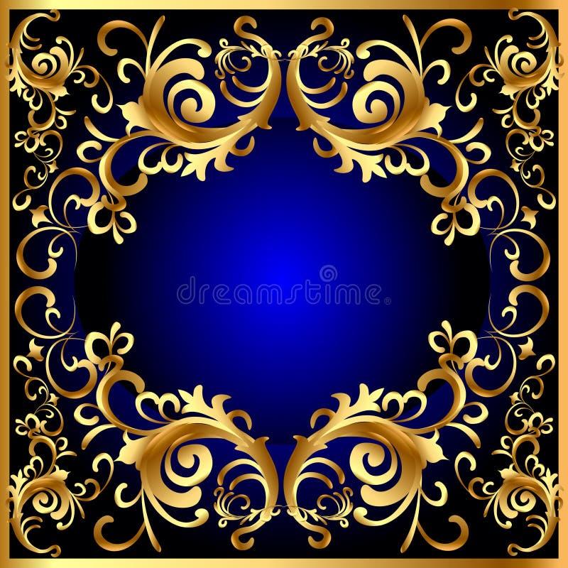 Frame azul do vintage com teste padrão vegetal do ouro (en) imagem de stock royalty free