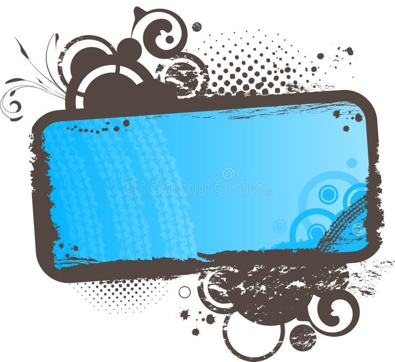 Frame azul floral de Grunge ilustração royalty free