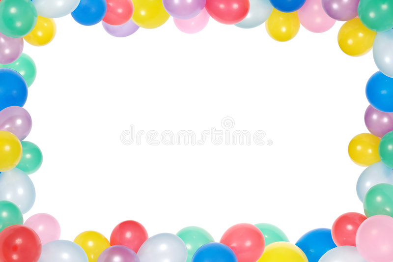 Frame from balloons isolated on white background stock photography