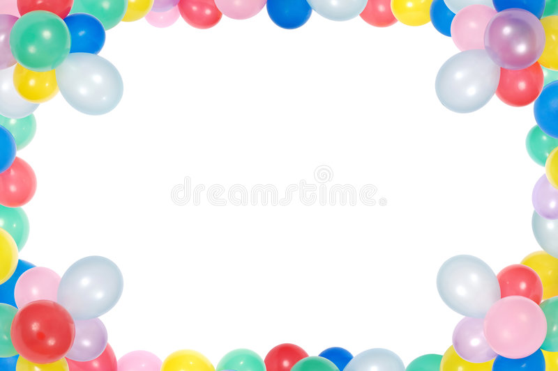 Margem De Aniversario: Frame From Balloons Isolated On White Background Stock