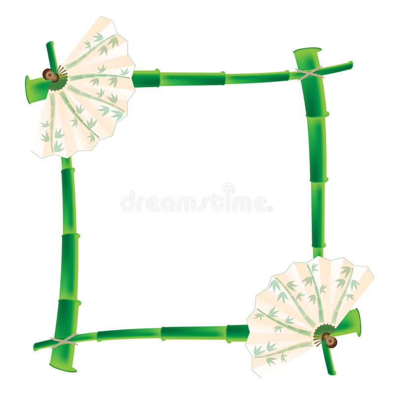 Frame of bamboo and fan. On a white background vector illustration