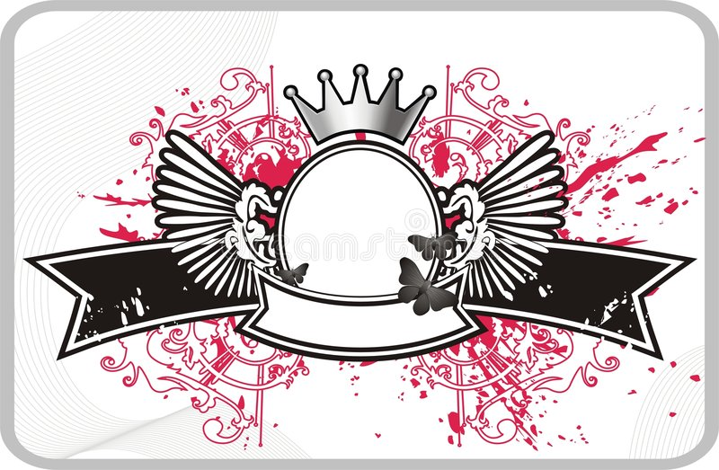 Frame with banner and crown. Frame for text or photo with banner and crown