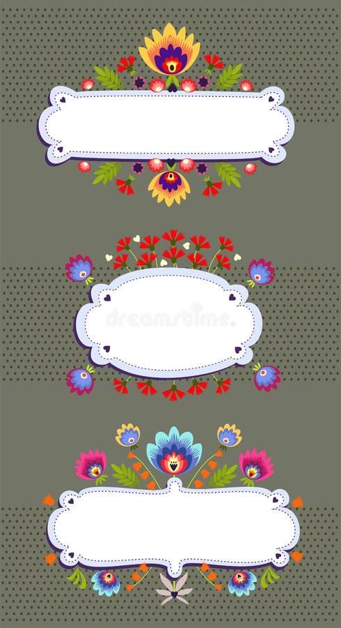 Frame Banner With Folk Pattern. Frame banner with polish folk pattern royalty free illustration