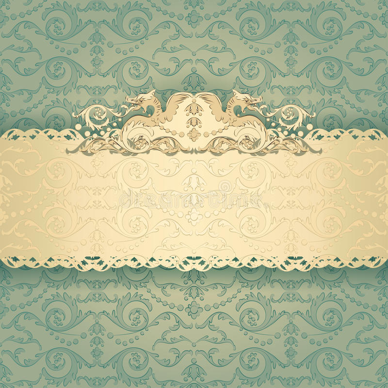 Frame banner with ornate wallpaper background stock vector download frame banner with ornate wallpaper background stock vector illustration of classic greeting stopboris Image collections