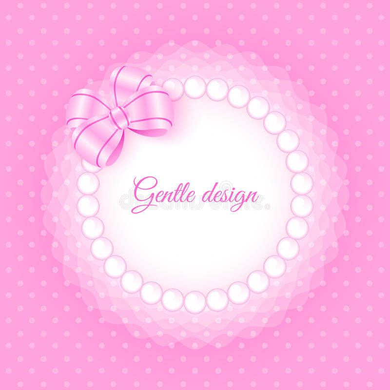 Frame with beads and bow. Gentle frame with beads and bow. Card template for your design royalty free illustration