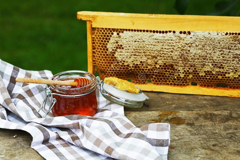 Frame with bees wax structure full of fresh bee honey in honeycombs. Fresh honey in the pot. Authentic lifestyle image. Top view. stock photos
