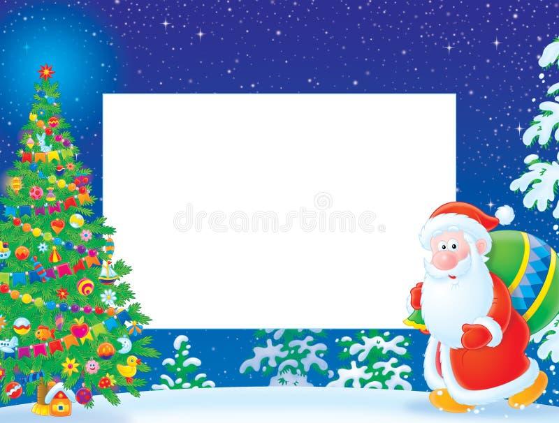 Frame/beira do Natal com Papai Noel ilustração do vetor