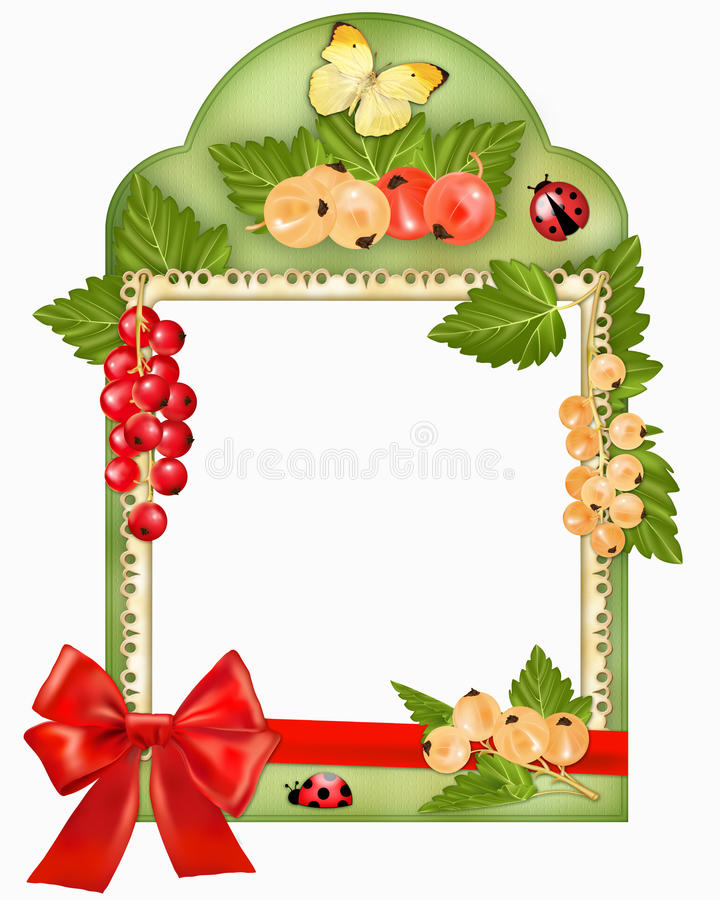 Download Frame with berries and bow stock illustration. Image of ladybug - 25045709