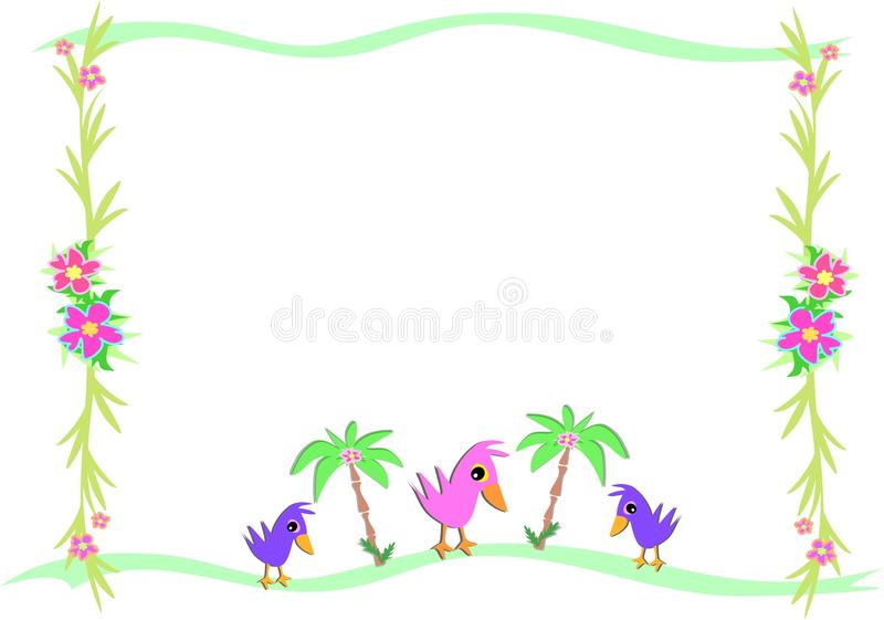 Frame Of Birds And Tropical Palms And Plants Royalty Free Stock Photography