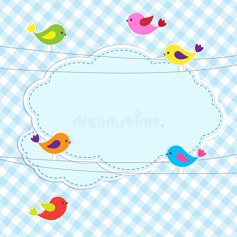 Download Frame with birds on wires stock vector. Illustration of baby - 26407547