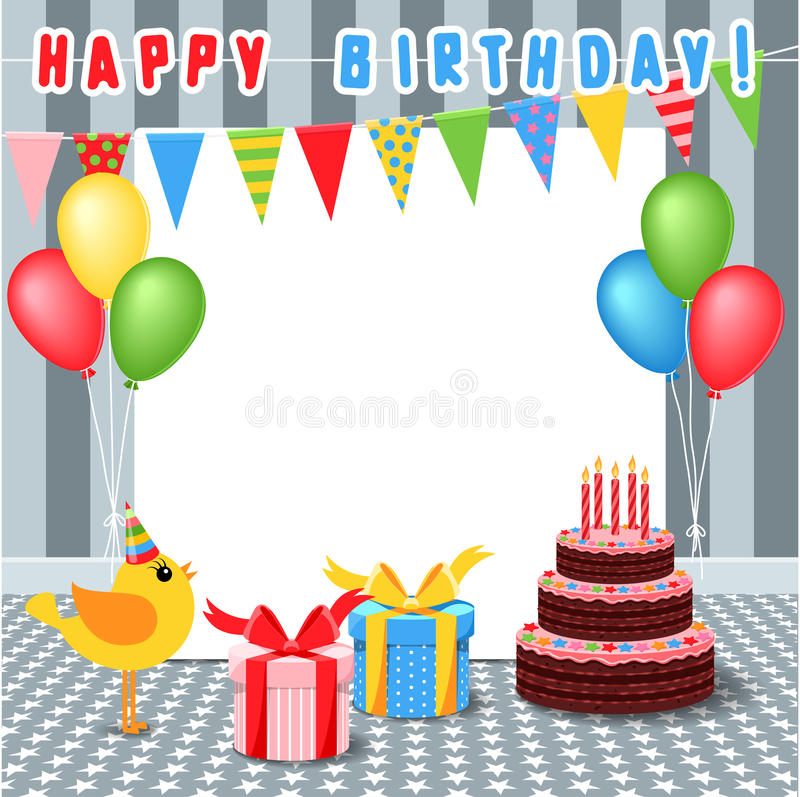 Frame With Birthday Elements Stock Vector - Illustration of balloon ...