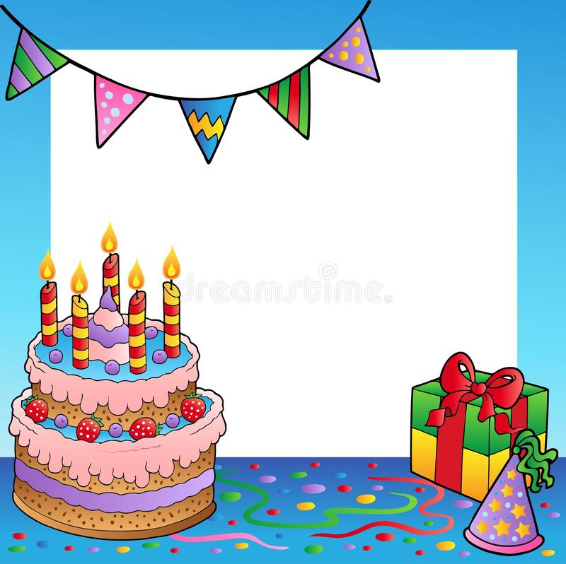 Frame with birthday theme 1. Illustration stock illustration