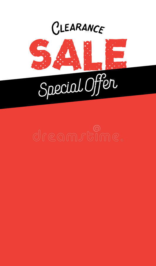 Frame blank Clearance Sale vintage style heading design for banner or poster. Sale and Discounts Concept. Vector illustration. stock illustration