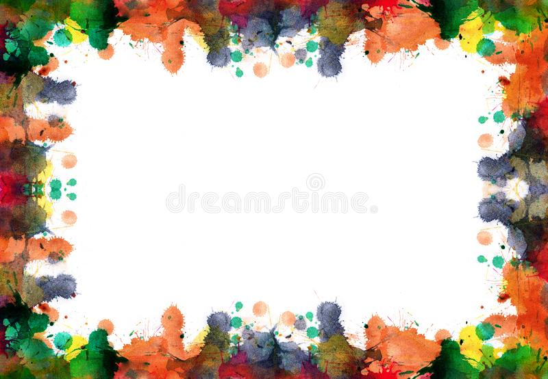 Frame of blots and splashes from watercolor paints in autumn col. Ors - abstract background stock illustration