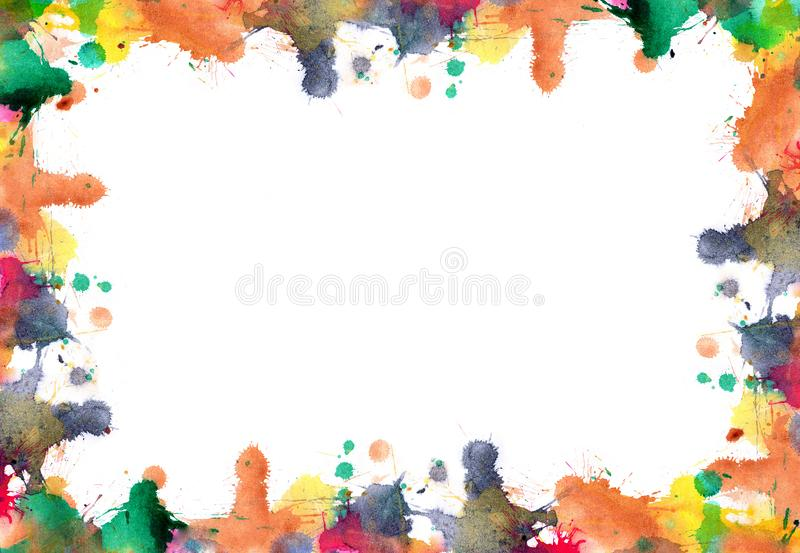 Frame of blots and splashes from watercolor paints. In autumn colors - abstract background royalty free illustration