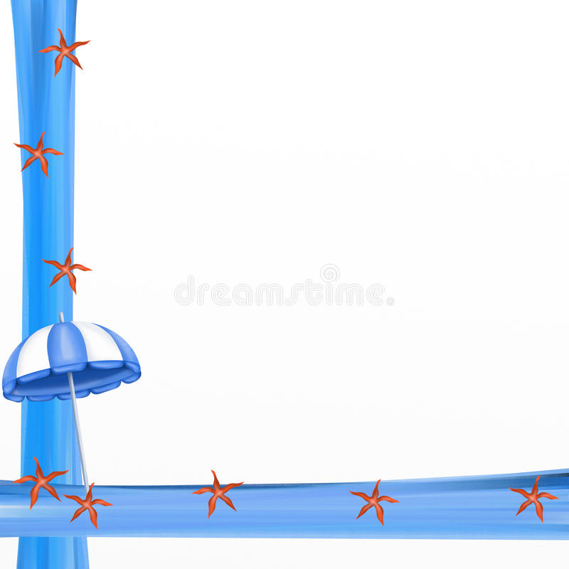 Frame with blue umbrellas. Colorful frame with blue umbrellas stock illustration