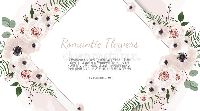 Frame border background. Floral wedding card with rose, anemone and eucalyptus branch. Frame border background. Floral wedding card with rose, anemone and royalty free illustration