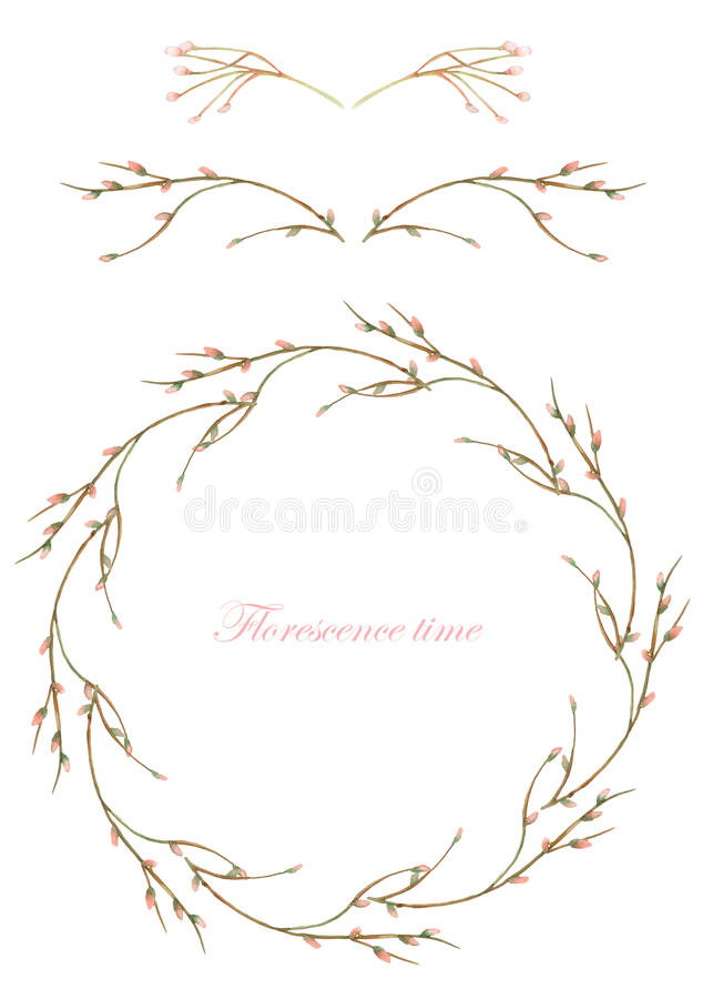 Frame border, decorative floral elements and wreath of the branches with buds painted in a watercolor on a white background, gree vector illustration