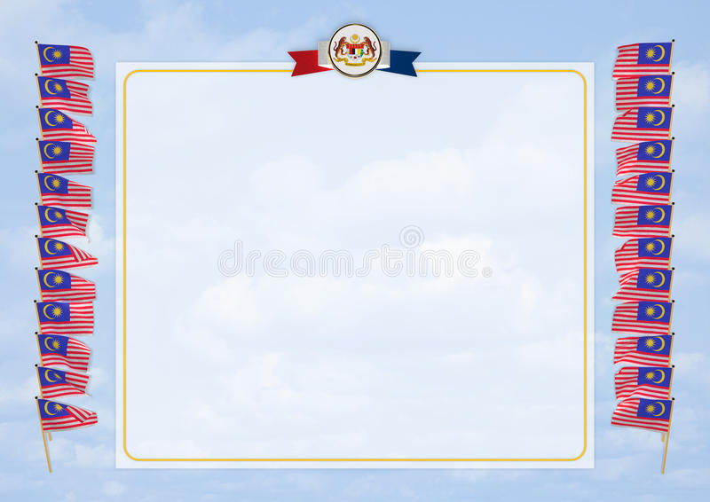Frame And Border With Flag And Coat Of Arms Malaysia. 3d ...