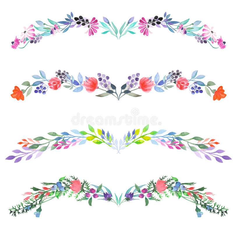 Frame border, floral decorative ornament with watercolor flowers, leaves and branches vector illustration