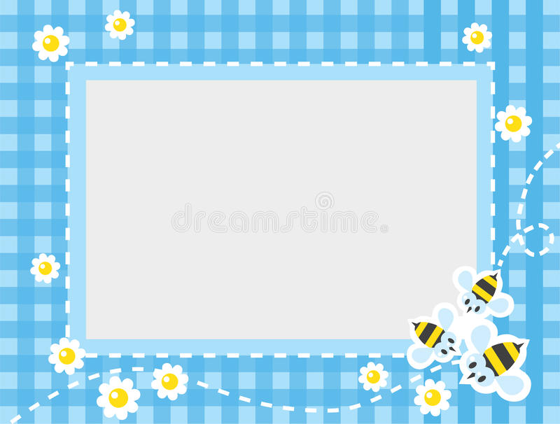 Frame or border with funny bees. Frame or border for card or photo with funny flying bees and flowers on blue checkered tablecloth background. Children vector royalty free illustration