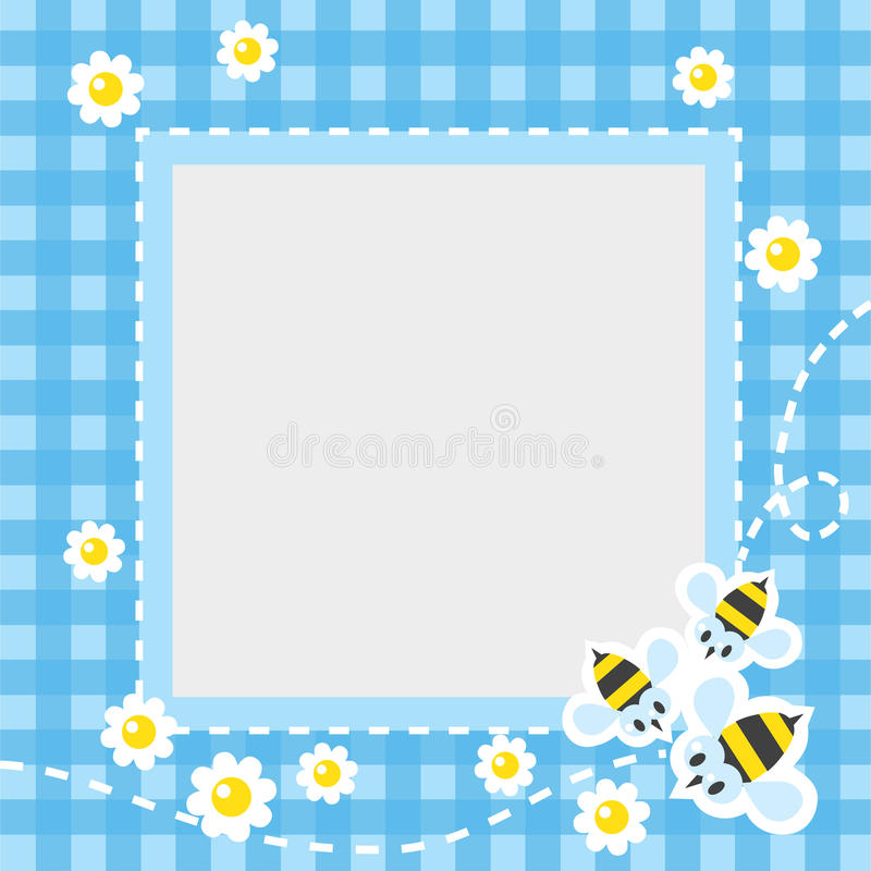 Frame or border with funny bees. Frame or border for card or photo with funny flying bees and flowers on blue checkered tablecloth background. Children vector stock illustration