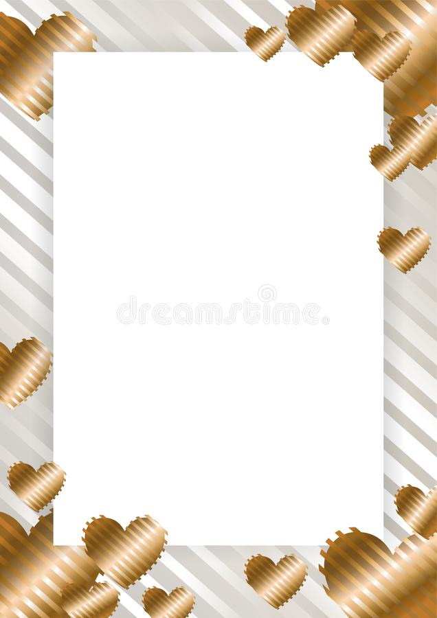 Frame, border with golden hearts on a white background. With stripes. Vector illustration for photos, announcements, greetings, invitations,posters, gift vector illustration