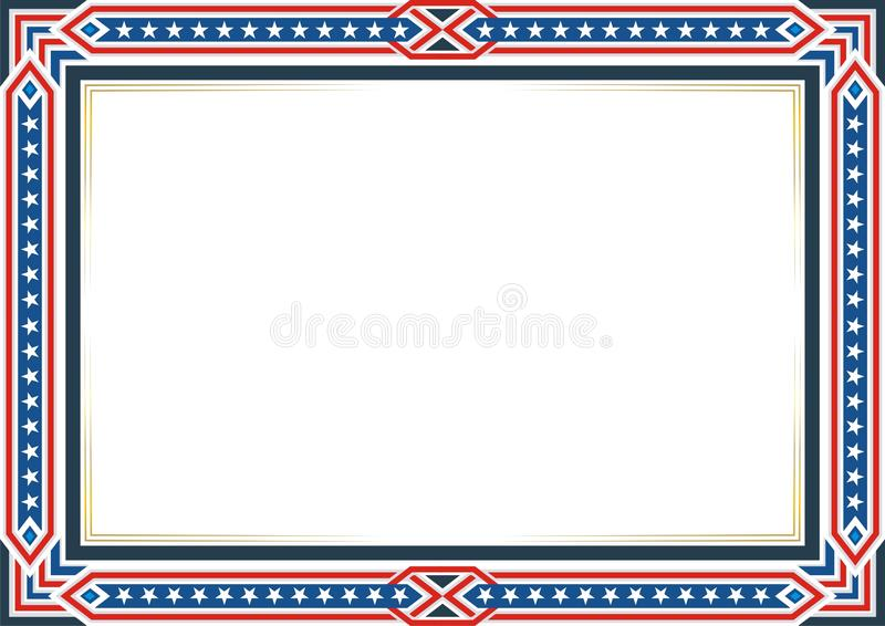 Frame or border, with Patriotic american flag style and color design stock illustration