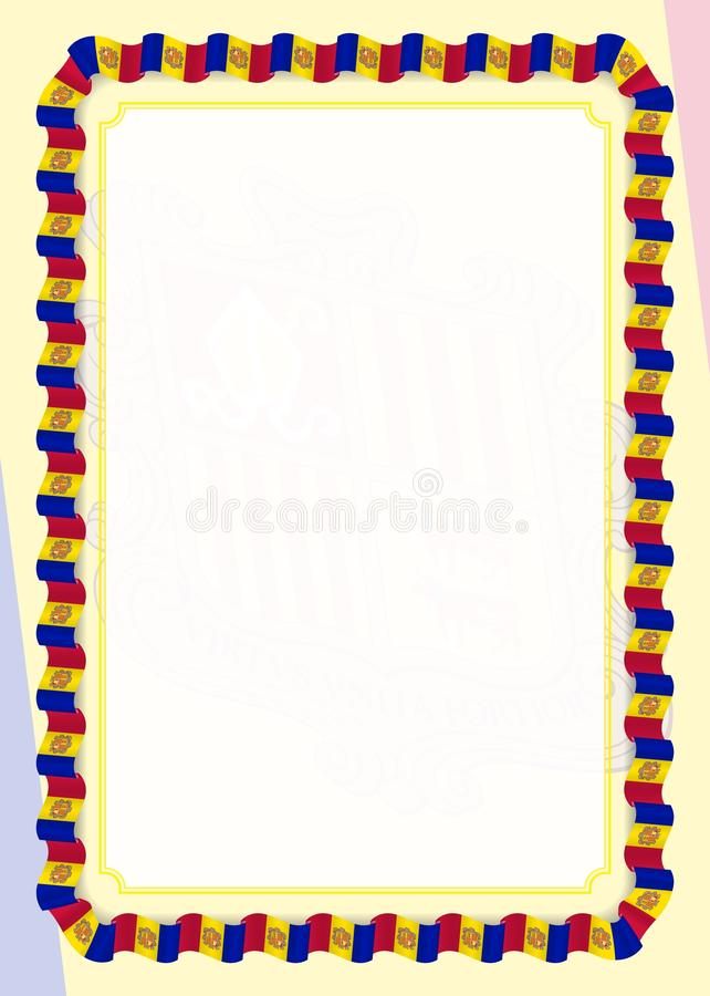 Frame and border of ribbon with Andorra flag, template elements for your certificate and diploma. Vector.  vector illustration