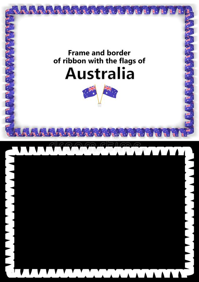 Frame and border of ribbon with the Australia flag for diplomas, congratulations, certificates. Alpha channel. 3d illustration.  royalty free illustration