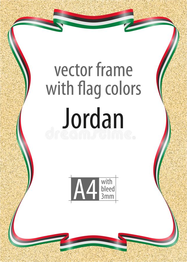 Frame and border of ribbon with the colors of the jordan flag download frame and border of ribbon with the colors of the jordan flag template elements yelopaper Images