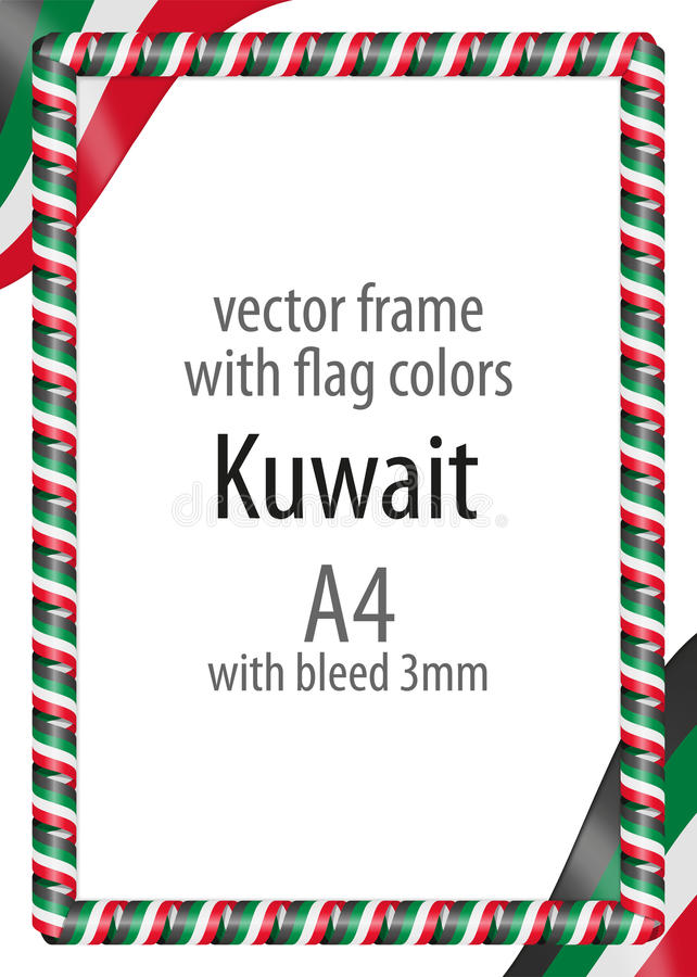 Frame And Border Of Ribbon With The Colors Of The Kuwait Flag Stock ...