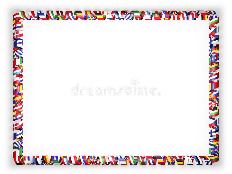 Frame and border of ribbon with flags of all countries of the European Union. 3d illustration royalty free illustration