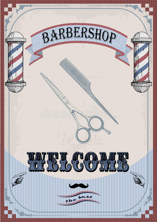 Frame border scissors and comb sign shingle for barber, coiffeur, haircutter, vintage retro inscription barbershop. Vector. Frame border scissors and comb sign stock illustration