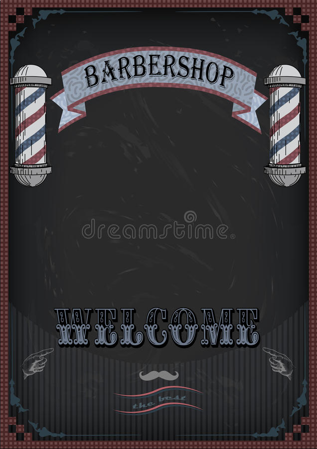 Frame border scissors and comb sign shingle for barber, coiffeur, haircutter, vintage retro inscription barbershop. Vector. Vertical closeup front view royalty free illustration