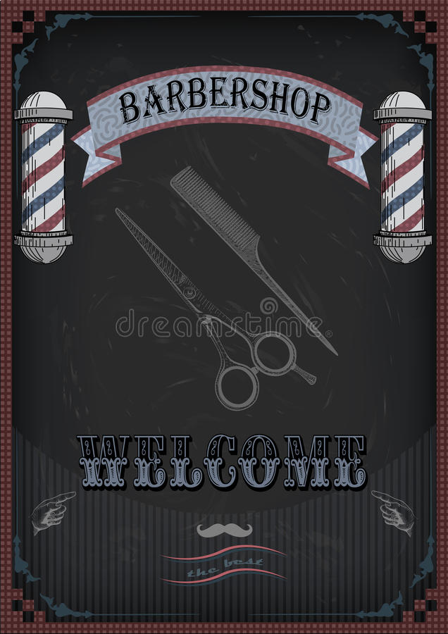 Frame border scissors, shears, shear comb sign shingle for barber haircutter, vintage retro inscription barbershop. Vector. Vertical closeup top view beautiful stock illustration