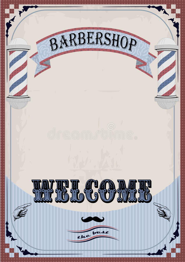 Frame border sign signboard fascia or shingle for barber, coiffeur, haircutter, vintage retro inscription barbershop. Vector vert. Ical closeup front view royalty free illustration