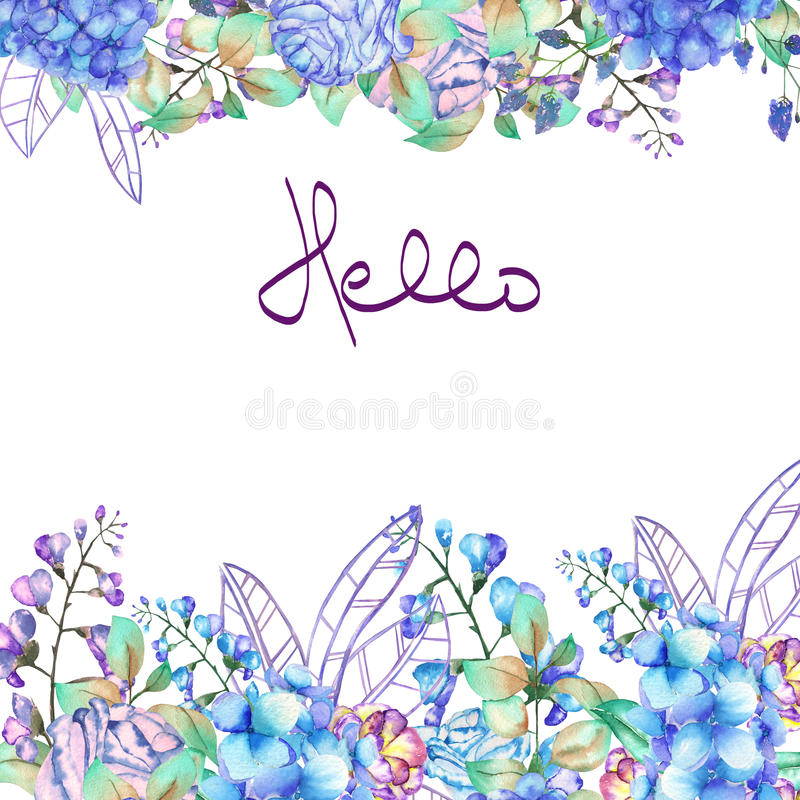 Frame border, template for postcard with purple and blue Hydrangea flowers royalty free illustration