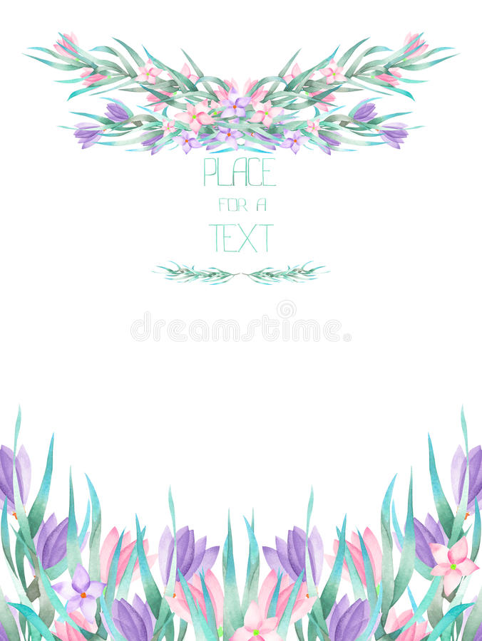 A frame border, template of a postcard with the watercolor crocus flowers and branches, wedding invitation stock illustration