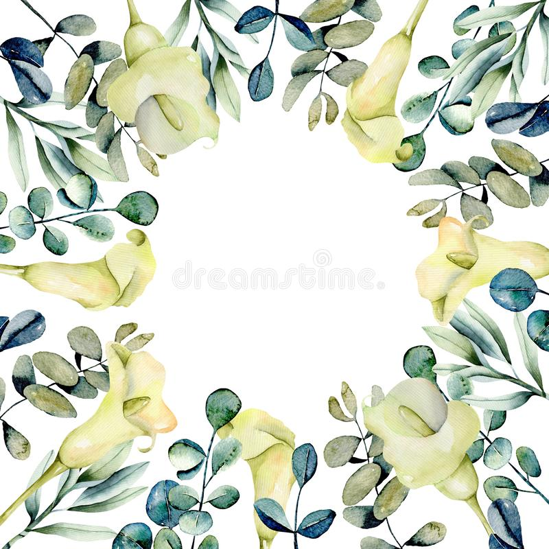 Frame border with watercolor white callas flowers and eucalyptus branches stock photography